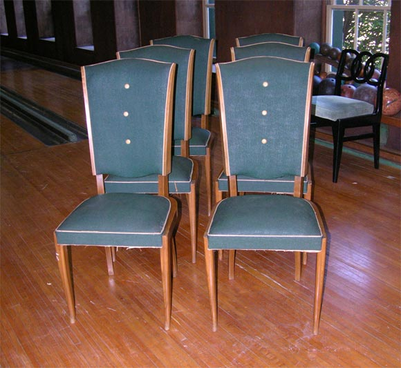 Set of Six French 1940s Chairs In Good Condition For Sale In Stamford, CT