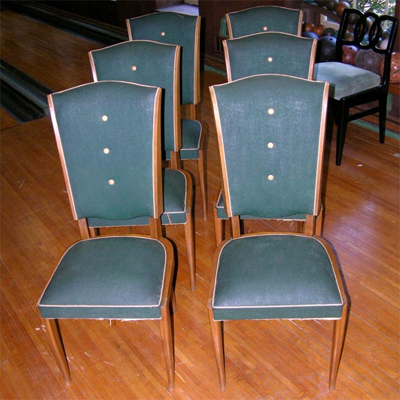 Mid-20th Century Set of Six French 1940s Chairs For Sale