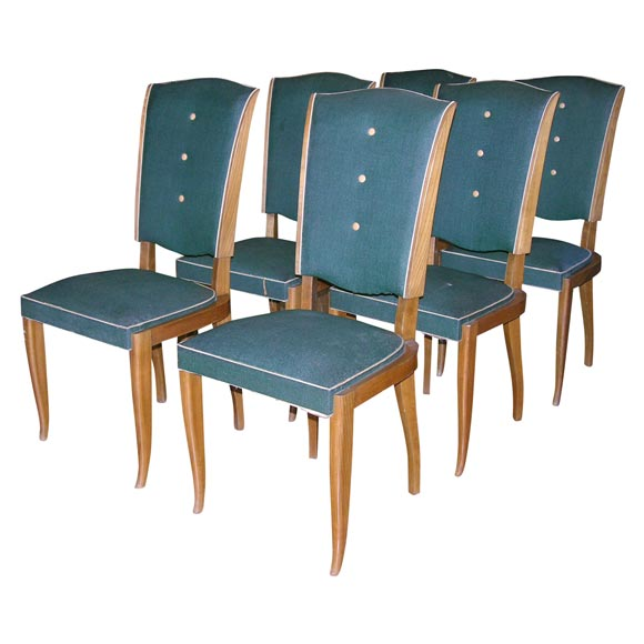 Set of Six French 1940s Chairs For Sale