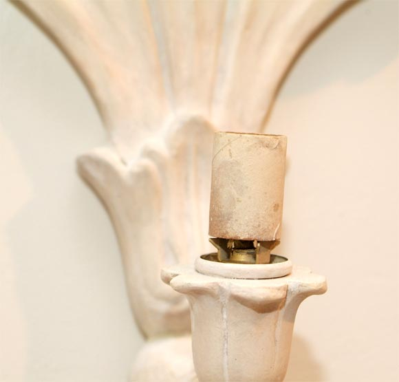 Pair of Chic Art Deco Plaster Wall Sconces at 1stdibs