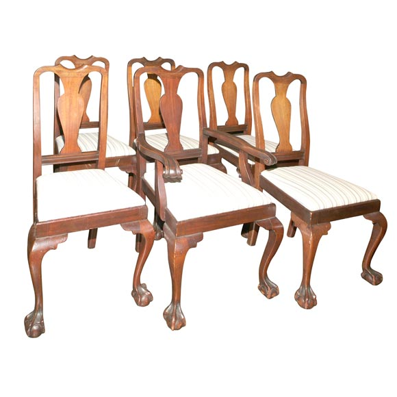 Set Of Six American Walnut Chippendale Style Dining Chairs