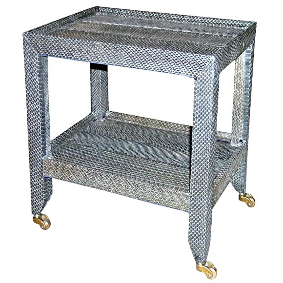 Telephone table in gray python by karl springer signed for Table in python