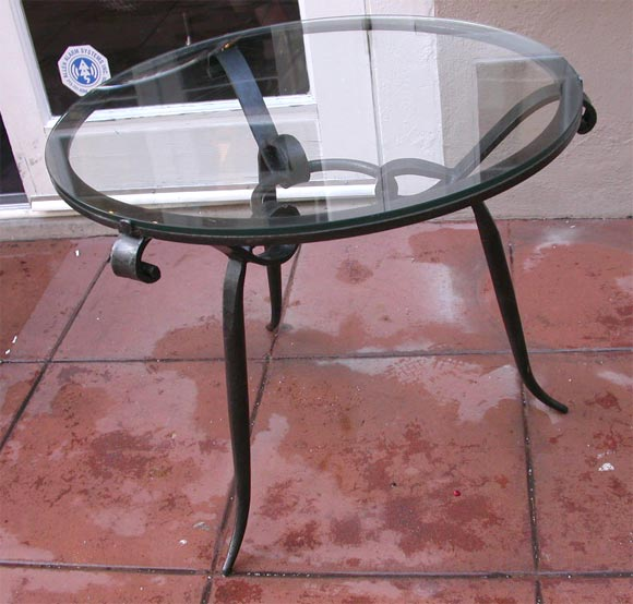 pair of french black wrought iron and glass top occasional tables at 1stdibs. Black Bedroom Furniture Sets. Home Design Ideas