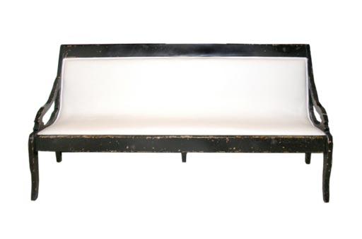 Long Black And White Upholster Bench At 1stdibs