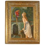 French Art Nouveau Oil of Woman with Parrot