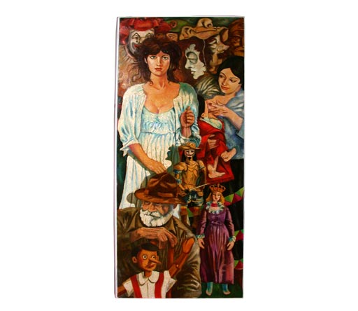 Masks and marionettes oil painting by joe caruso for sale for What kind of paint to use on kitchen cabinets for art deco wall clocks for sale