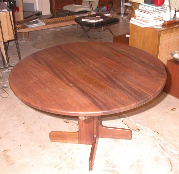 Solid sedua wood dining table w leaves by gerald mccabe at for Solid wood round dining table with leaf