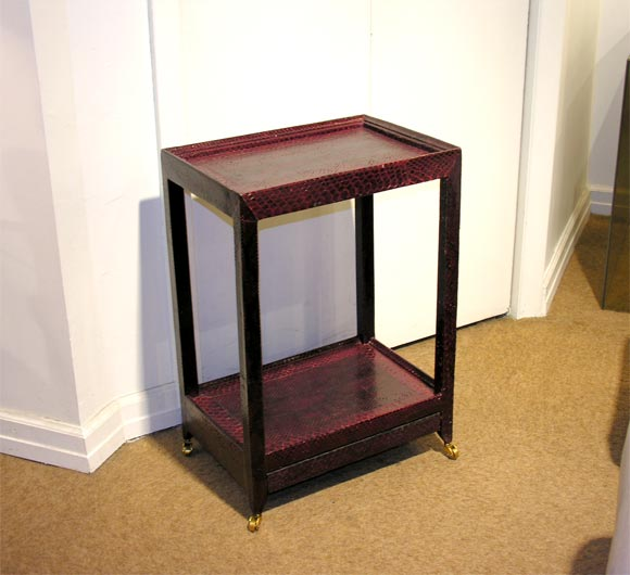 Telephone table in burgundy python by karl springer for Table in python
