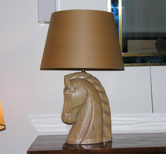 Limed Oak Horse Head Lamp by Billy Haines 2