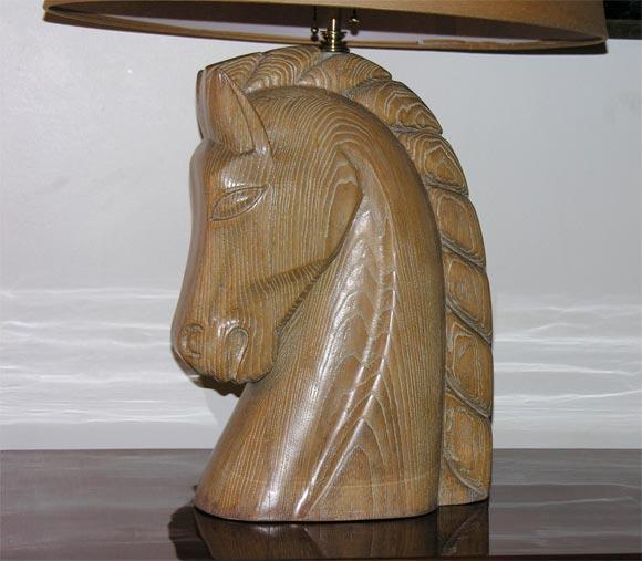 Limed Oak Horse Head Lamp by Billy Haines 3