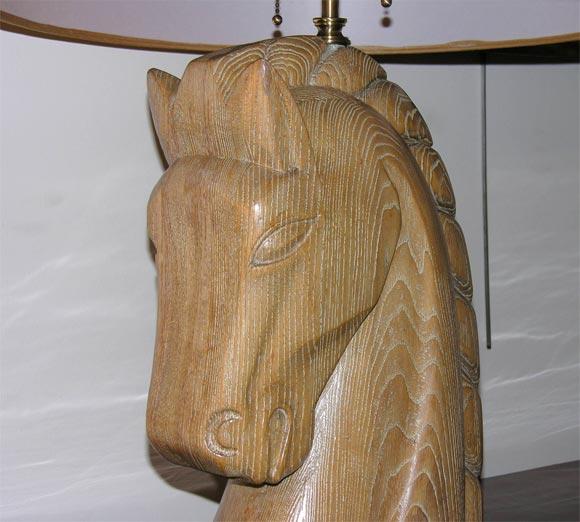 Limed Oak Horse Head Lamp by Billy Haines 4