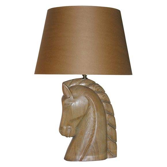 Limed Oak Horse Head Lamp by Billy Haines 1