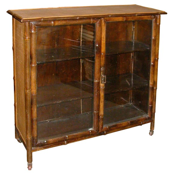 Bamboo And Rattan Glass Door Bookcase At 1stdibs