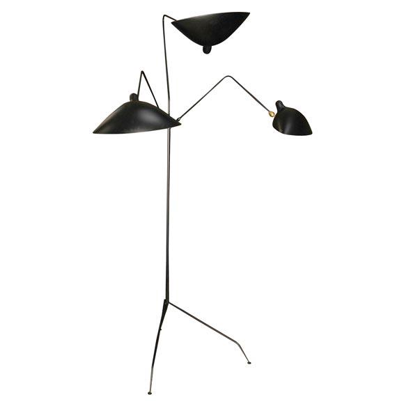Metal 3 light floor lamp at 1stdibs for 3 light steel floor lamp