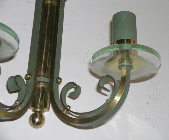 Bronze Pair of French Art Deco Wall Sconces For Sale