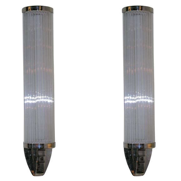 Pair of Machine Age Nickel and Glass Rod Sconces at 1stdibs