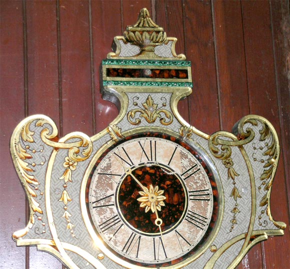 Italian Fanciful Eglomise Electric Wall Clock For Sale