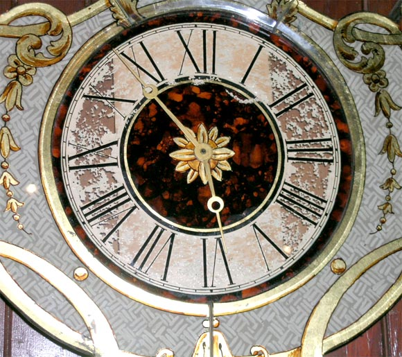 Fanciful Eglomise Electric Wall Clock In Good Condition For Sale In Stamford, CT