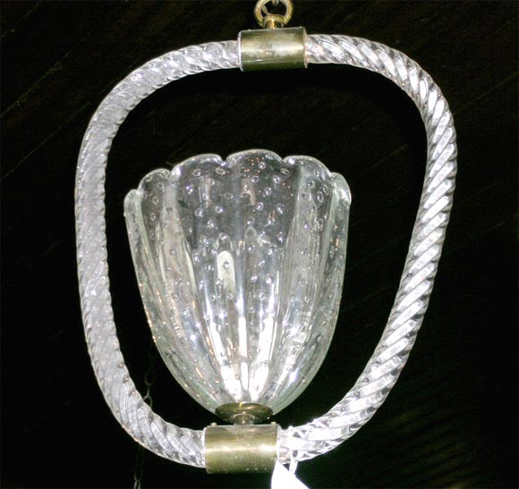 Mid-20th Century Barovier Murano, Venetian Glass Hanging Light For Sale