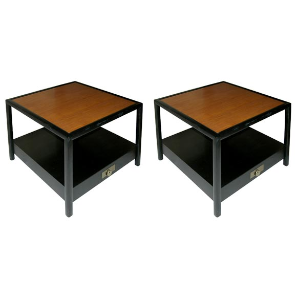 Beau Pair Of Square Lamp Tables By Michael Taylor For Baker Furniture