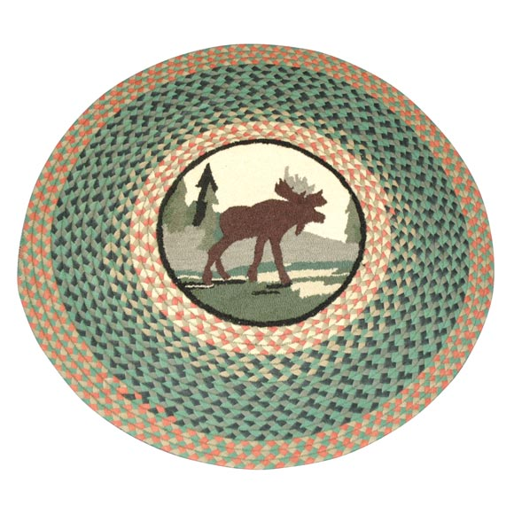 1960'S ROUND BRAIDED AND HAND HOOKED PICTORIAL MOOSE RUG