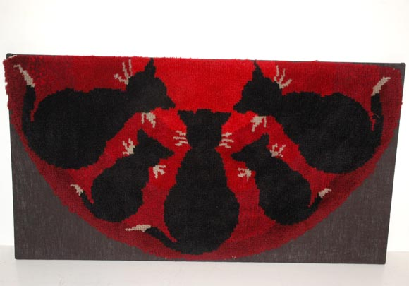 1900-1920 Pictorial Cats/ Yarn Hooked Rug 2