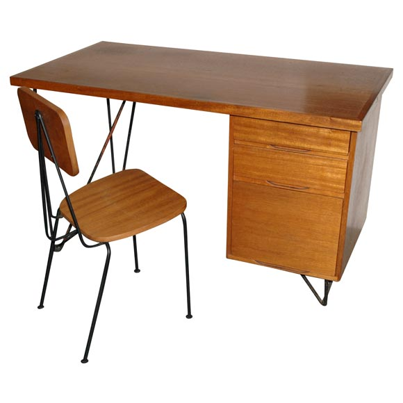 Mahogany and iron desk and chair by Luther Conover at 1stdibs