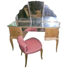 French Sycamore Dressing Table and Chair
