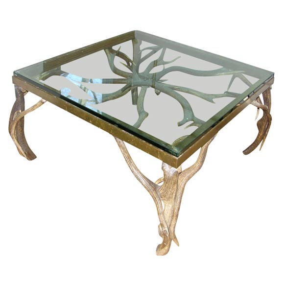 Glass Top Antler Table At 1stdibs
