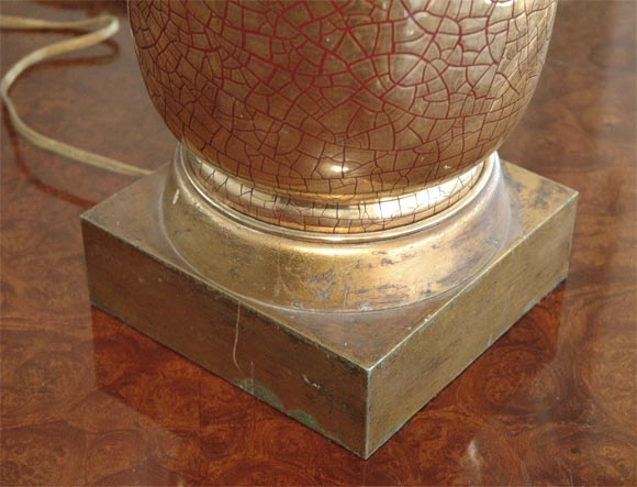 Italian Zaccagnini gold crackle  ceramic 1930's table  lamp For Sale
