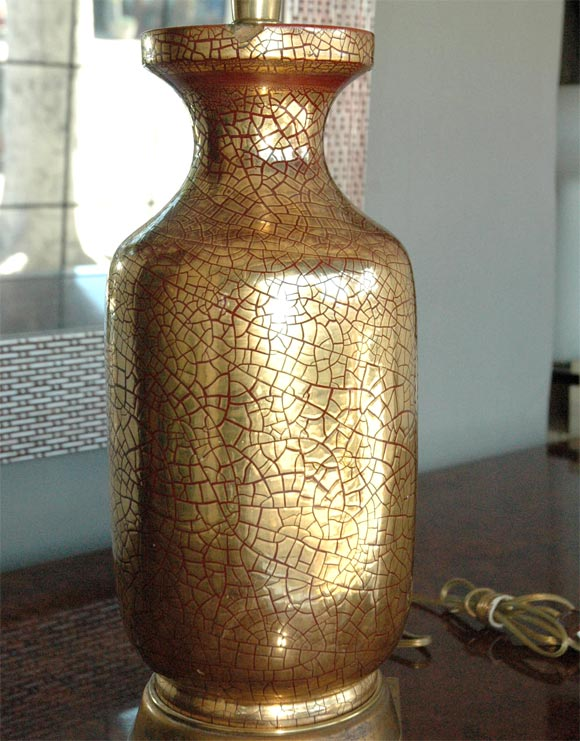 Zaccagnini gold crackle  ceramic 1930's table  lamp For Sale 1