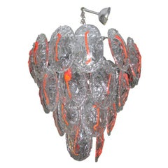 1970s Murano Glass Chandelier with Red Stripe