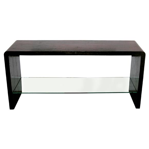 Console table covered in burgundy python by karl springer for Table in python