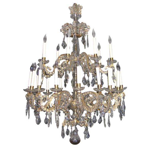 Rococo Gilt Bronze and Cut Glass Twenty-Four-Light Chandelier