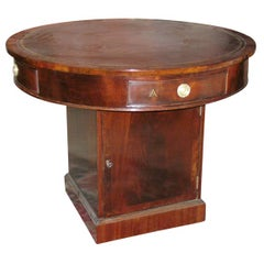 Regency Mahogany Leather Top Rotating Rent Table