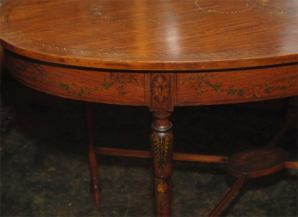 Hand-Painted 19th Century French Satinwood Oval Table For Sale