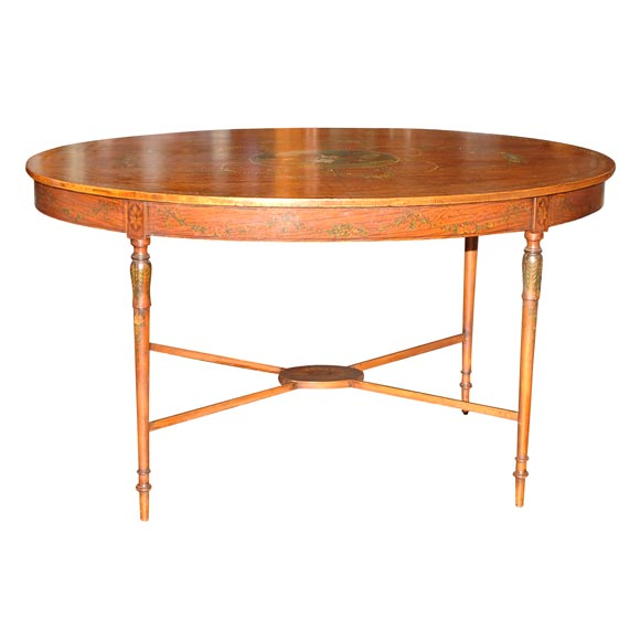 19th Century French Satinwood Oval Table For Sale