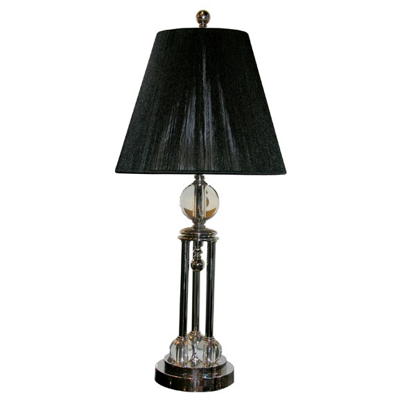 1930 39 s nickel and glass ball table lamp. Black Bedroom Furniture Sets. Home Design Ideas