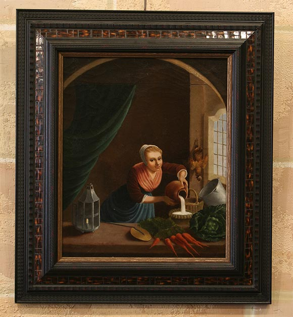 Late 19th century Flemish school oil on canvas painting of a milk maid, in the 17th century style.