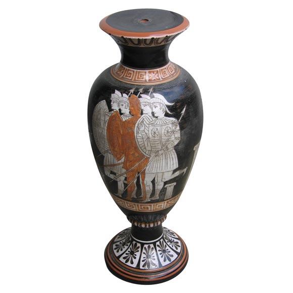 Glazed Terracotta Vase Lamp Base with Greek Motifs by Venturi For ...