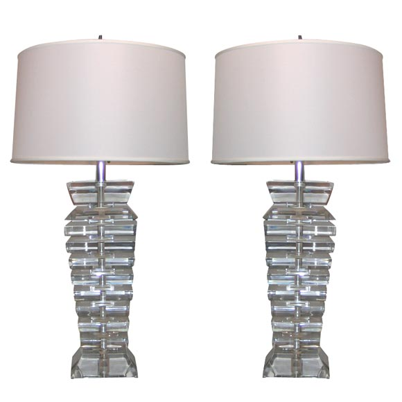 Pair of Modernist Lucite Table Lamps, 1960s