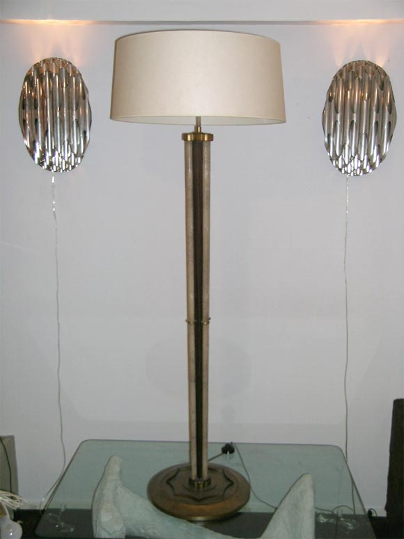 A shagreen, rosewood and gilt metal Art Deco floor lamp. Shade not included