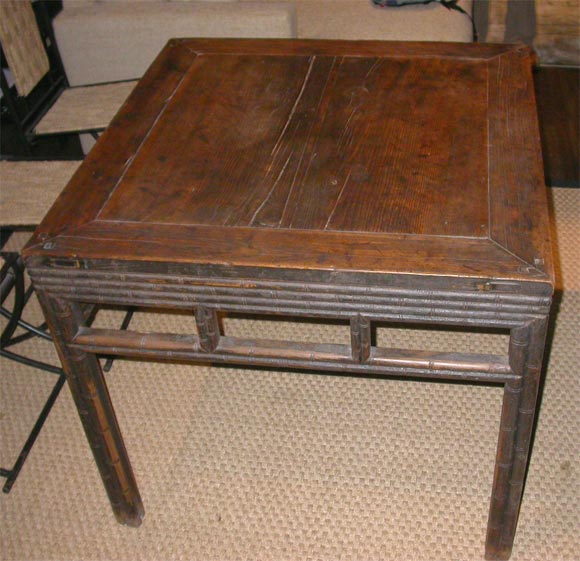 Late 18th-early 19th century. Suzhou faux bamboo center table or game table, originally Mah Jong Table