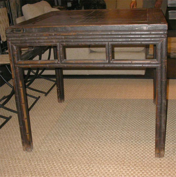 Late 18th/Early 19hC. Q'ing Dynasty Shanxi Faux Bamboo Elm Game Table In Excellent Condition For Sale In East Hampton, NY
