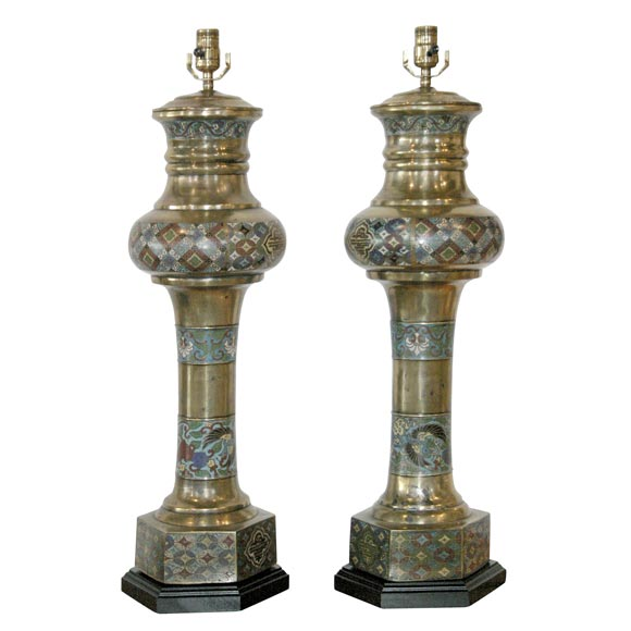 Large Chinese Brass Cloisonne Lamps 1930s At 1stdibs