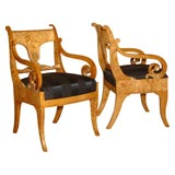 Mid 19th Century Pair of Russian Palace Chairs
