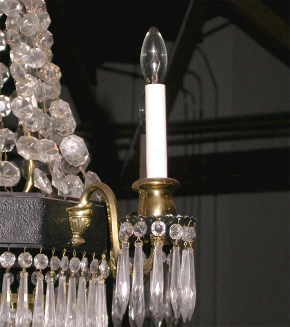 Crystal Chandelier In Good Condition For Sale In Culver City, CA