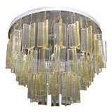 Venini Light Amber Glass Ceiling Mounted Triad Light Fixture