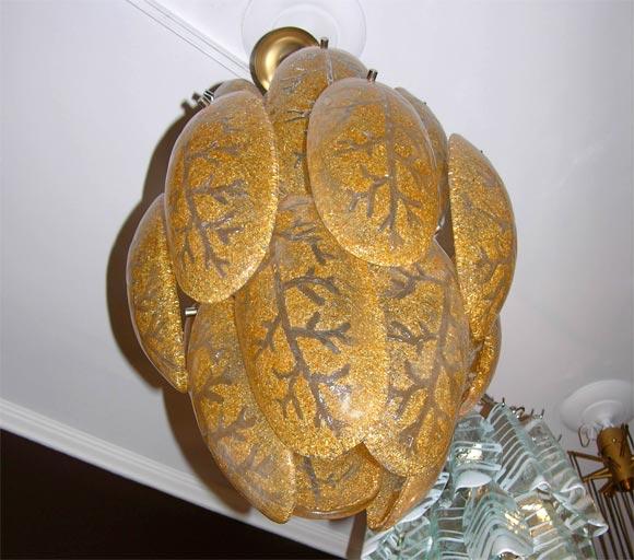 Italian Mazzega Gold Glass Chandelier For Sale