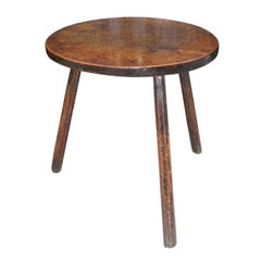 18th c. Welsh Cheese Top Oak Cricket Table